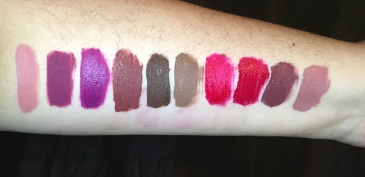 L-R: Bare with me, Berry Me, Berry Me 2, Brick, Chocolate Wasted, Cork, Kiss of Fire, Merlot, Mood, Truffle.